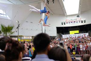 straps aerial show opening center Mega Park