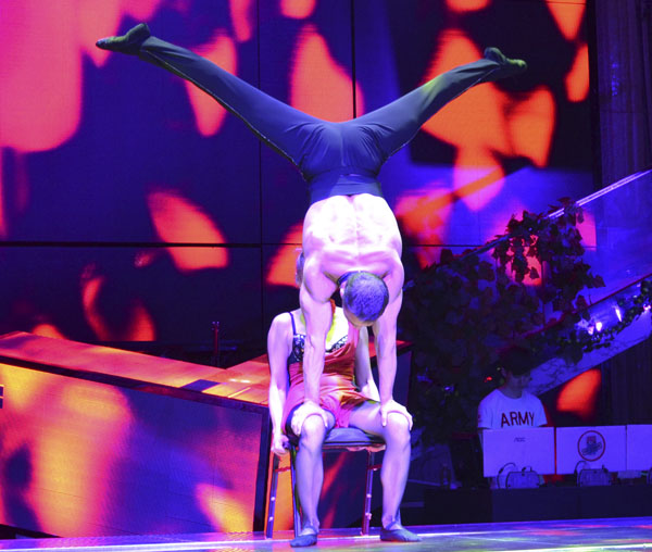 acrobatic duet on the chair