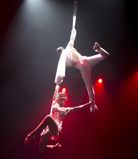 Aerial flying silks act